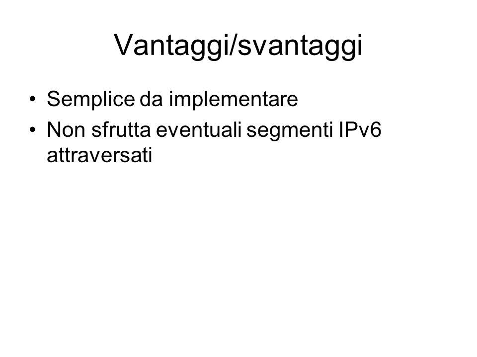 Vantaggi/svantaggi Semplice da implementare