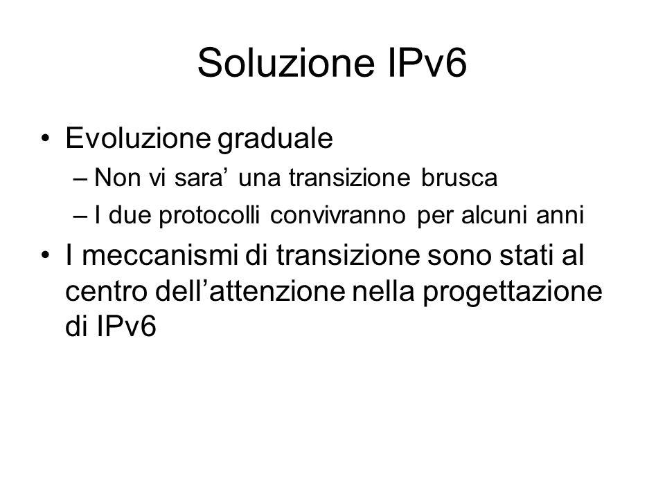 Soluzione IPv6 Evoluzione graduale