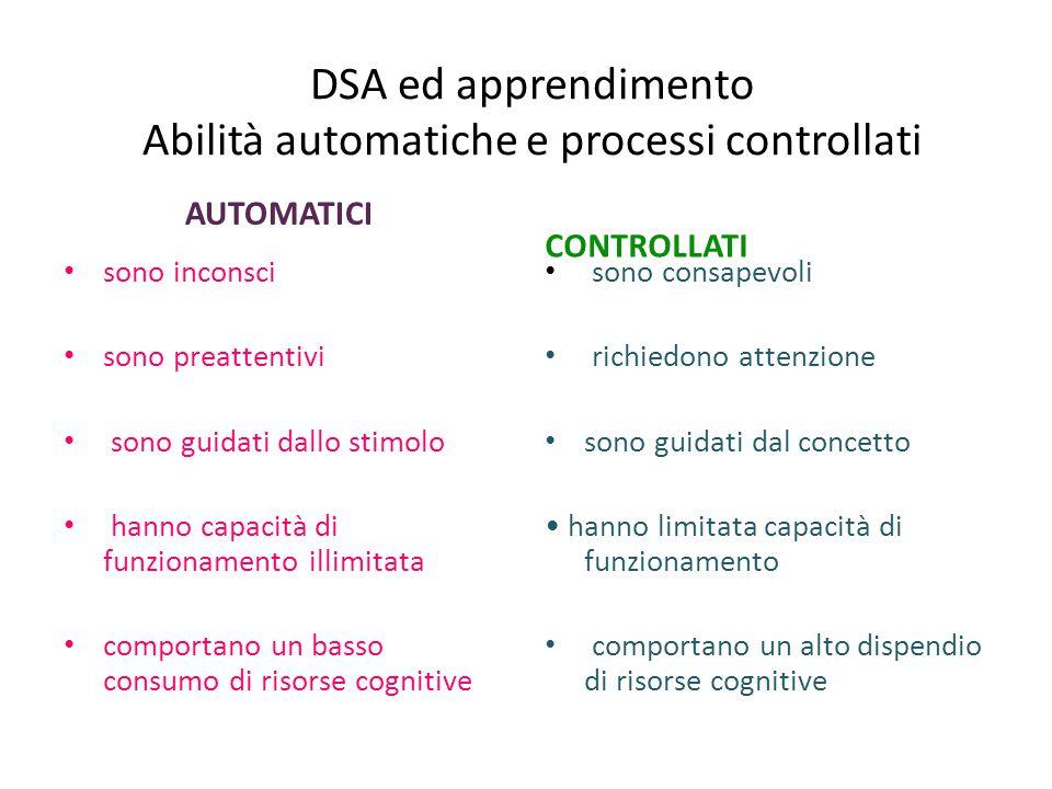 DSA ed apprendimento Abilità automatiche e processi controllati