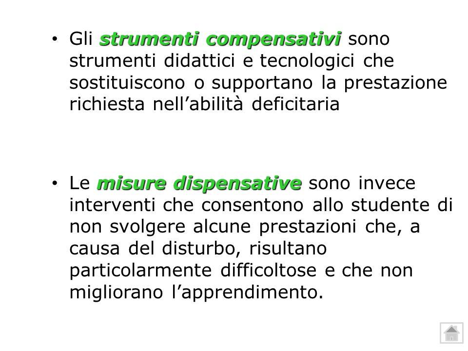 Gli strumenti compensativi sono strumenti didattici e tecnologici che sostituiscono o supportano la prestazione richiesta nell'abilità deficitaria