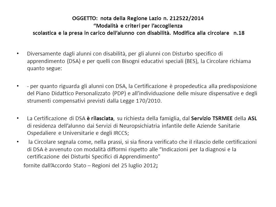 OGGETTO: nota della Regione Lazio n