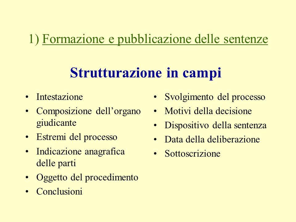 1) Formazione e pubblicazione delle sentenze