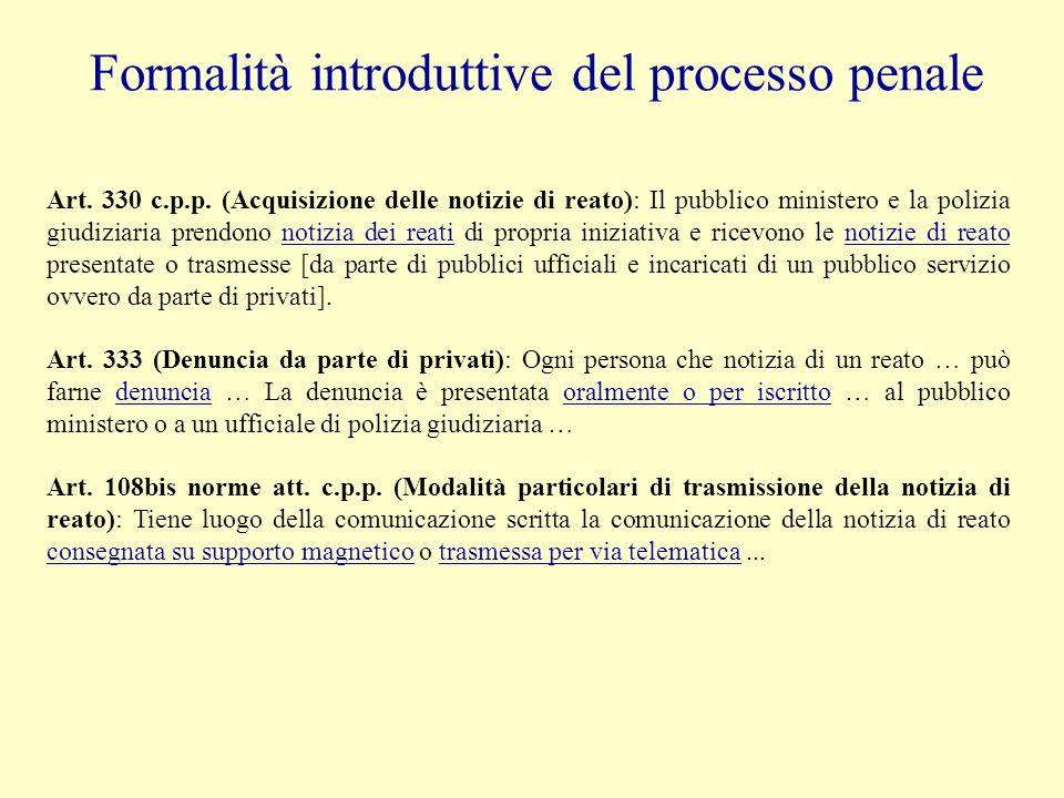 Formalità introduttive del processo penale