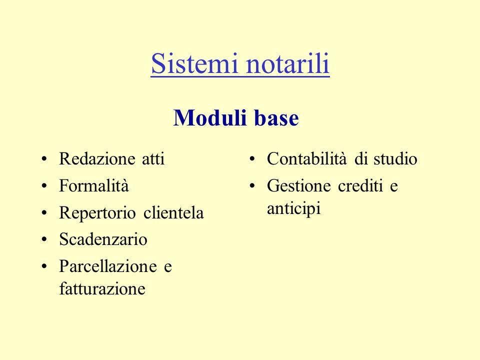 Sistemi notarili Moduli base Redazione atti Formalità