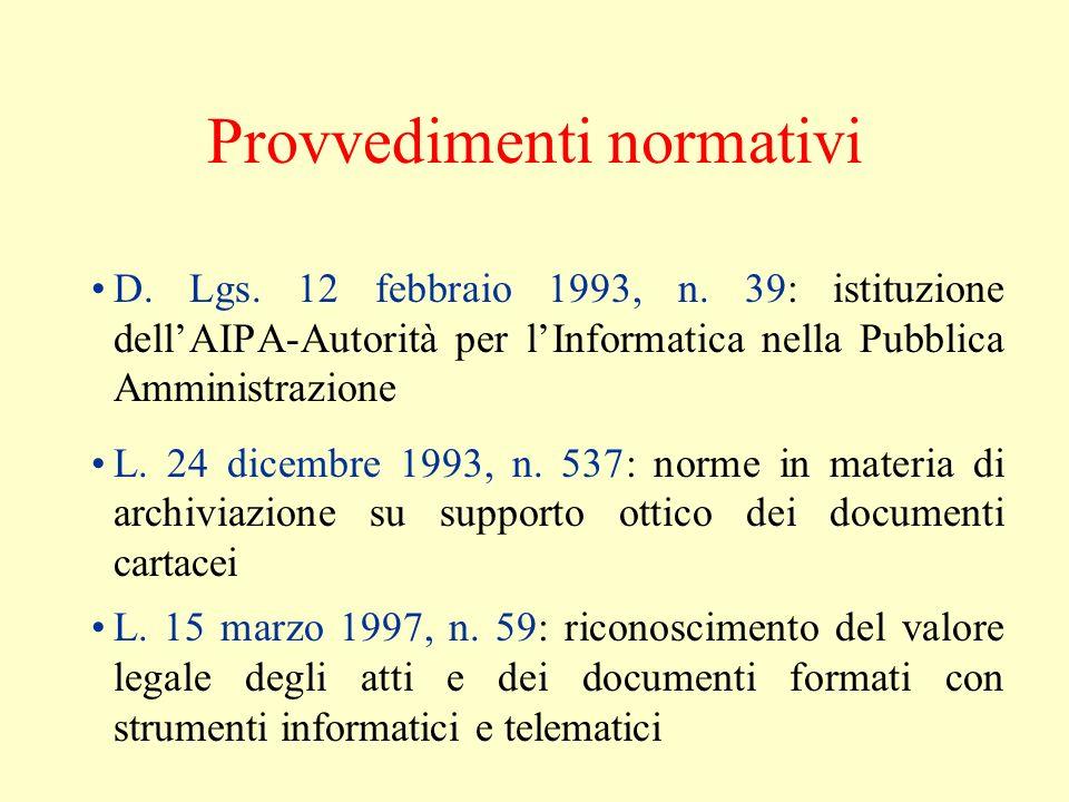 Provvedimenti normativi