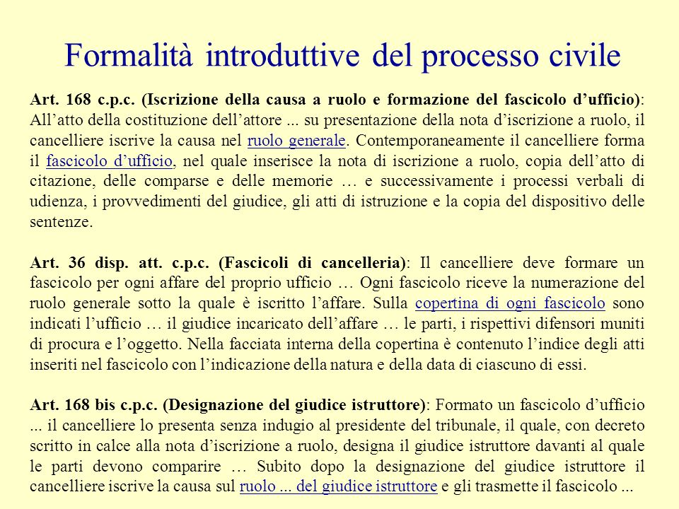 Formalità introduttive del processo civile