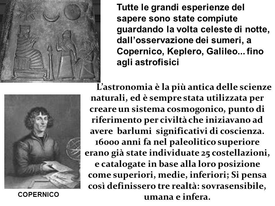 Tutte le grandi esperienze del sapere sono state compiute guardando la volta celeste di notte, dall'osservazione dei sumeri, a Copernico, Keplero, Galileo... fino agli astrofisici