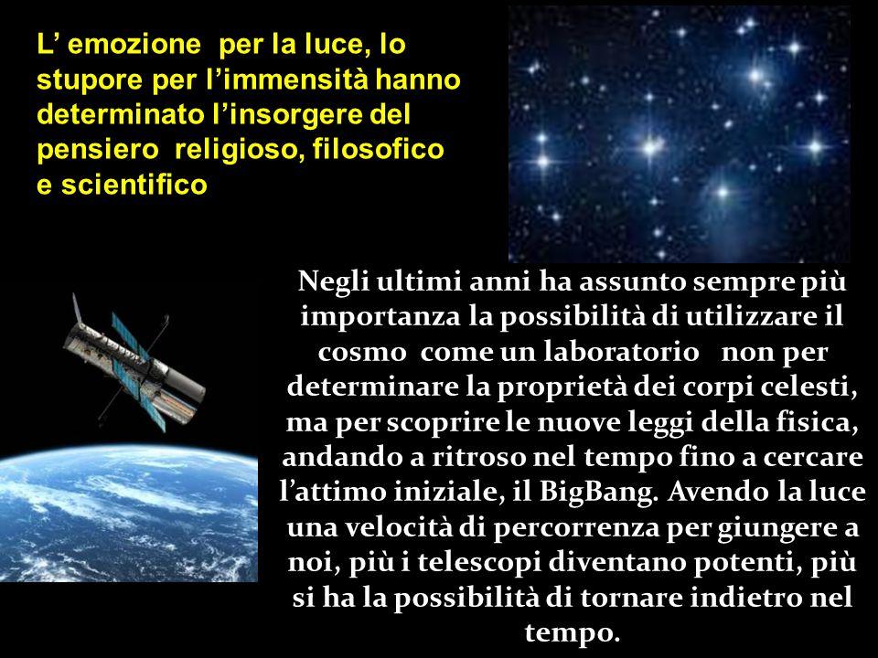 L' emozione per la luce, lo stupore per l'immensità hanno determinato l'insorgere del pensiero religioso, filosofico e scientifico