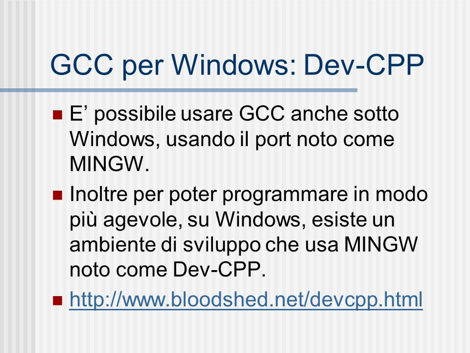GCC per Windows: Dev-CPP