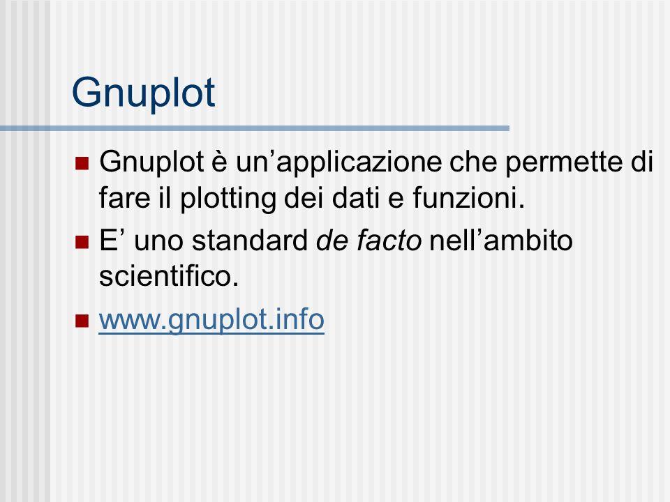 Gnuplot Gnuplot è un'applicazione che permette di fare il plotting dei dati e funzioni. E' uno standard de facto nell'ambito scientifico.