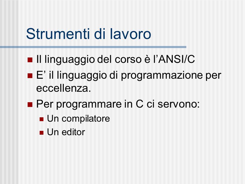 Strumenti di lavoro Il linguaggio del corso è l'ANSI/C