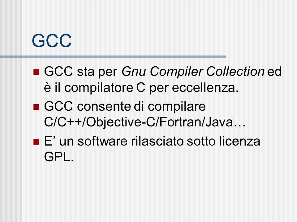 GCC GCC sta per Gnu Compiler Collection ed è il compilatore C per eccellenza. GCC consente di compilare C/C++/Objective-C/Fortran/Java…