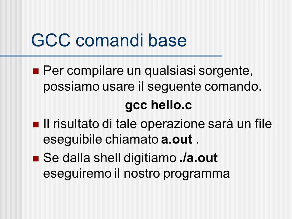 GCC comandi base Per compilare un qualsiasi sorgente, possiamo usare il seguente comando. gcc hello.c.