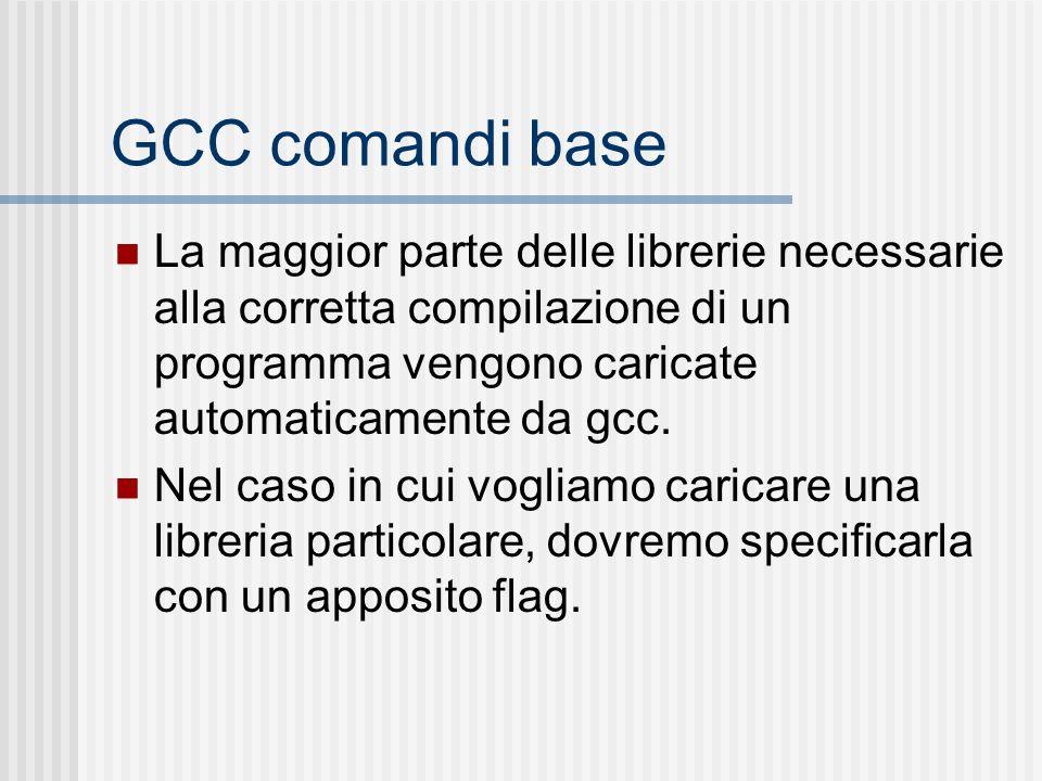 GCC comandi base La maggior parte delle librerie necessarie alla corretta compilazione di un programma vengono caricate automaticamente da gcc.