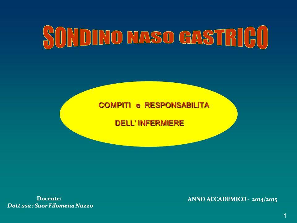 COMPITI e RESPONSABILITA Dott.ssa : Suor Filomena Nuzzo