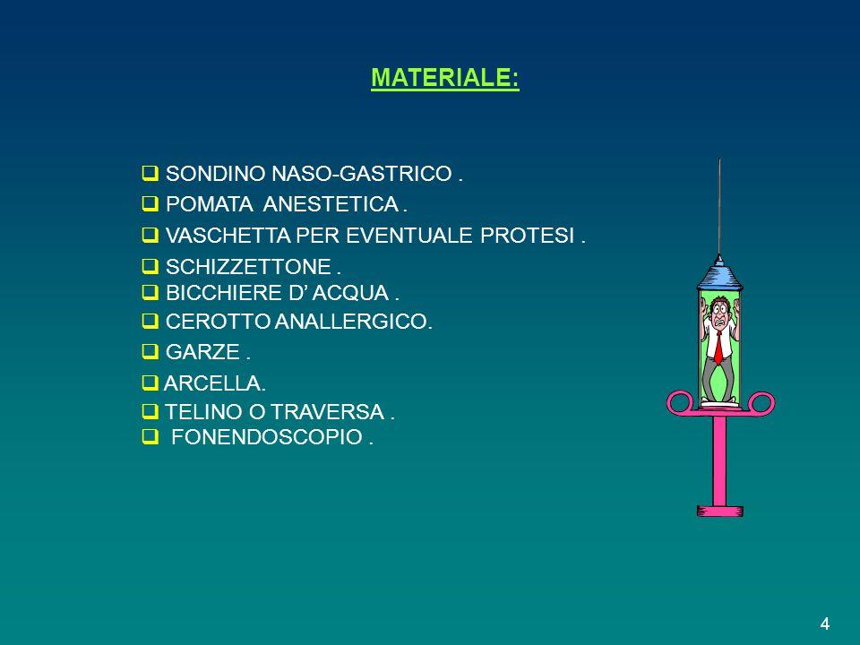 MATERIALE: SONDINO NASO-GASTRICO . POMATA ANESTETICA .