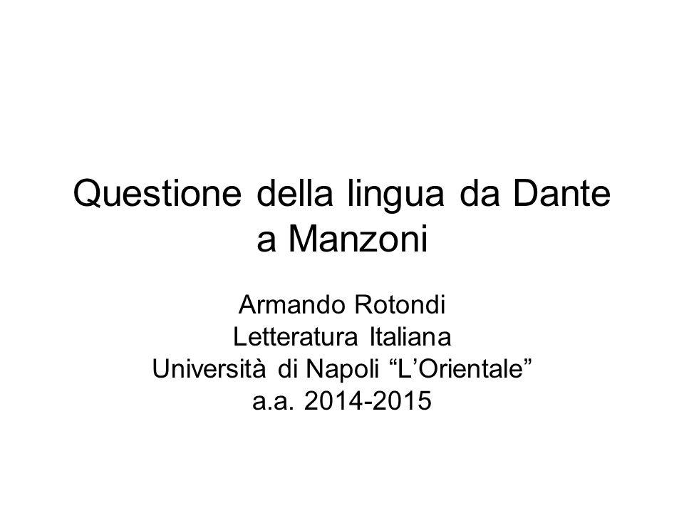 Questione della lingua da Dante a Manzoni