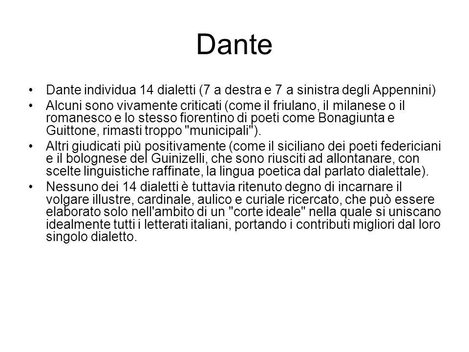 Dante Dante individua 14 dialetti (7 a destra e 7 a sinistra degli Appennini)