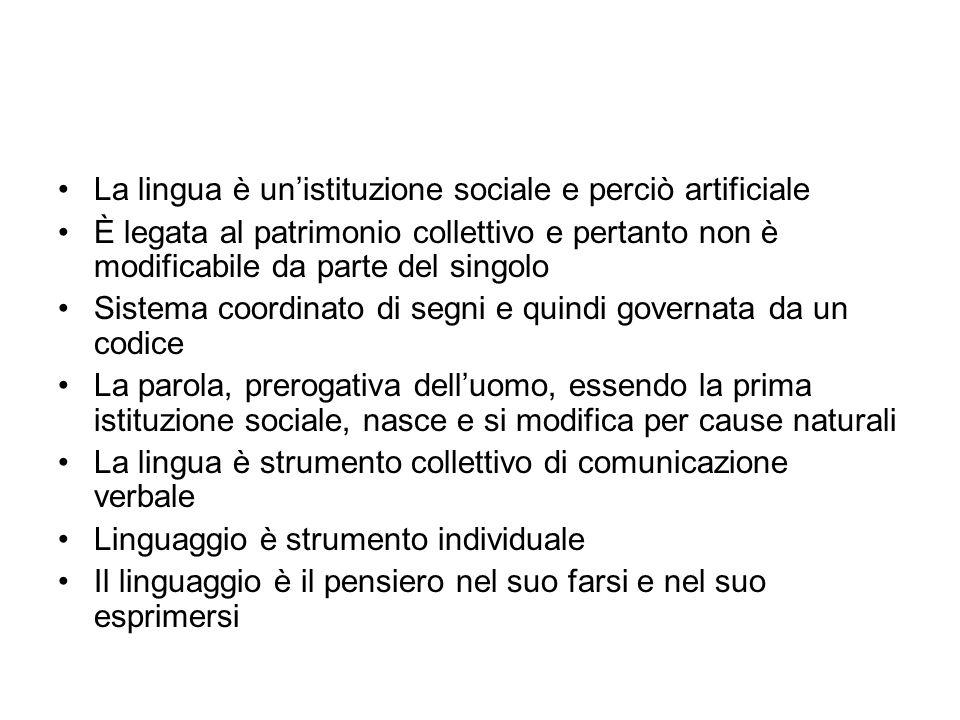 La lingua è un'istituzione sociale e perciò artificiale
