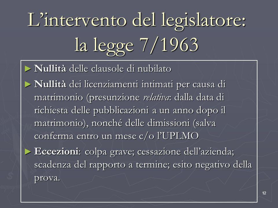 L'intervento del legislatore: la legge 7/1963
