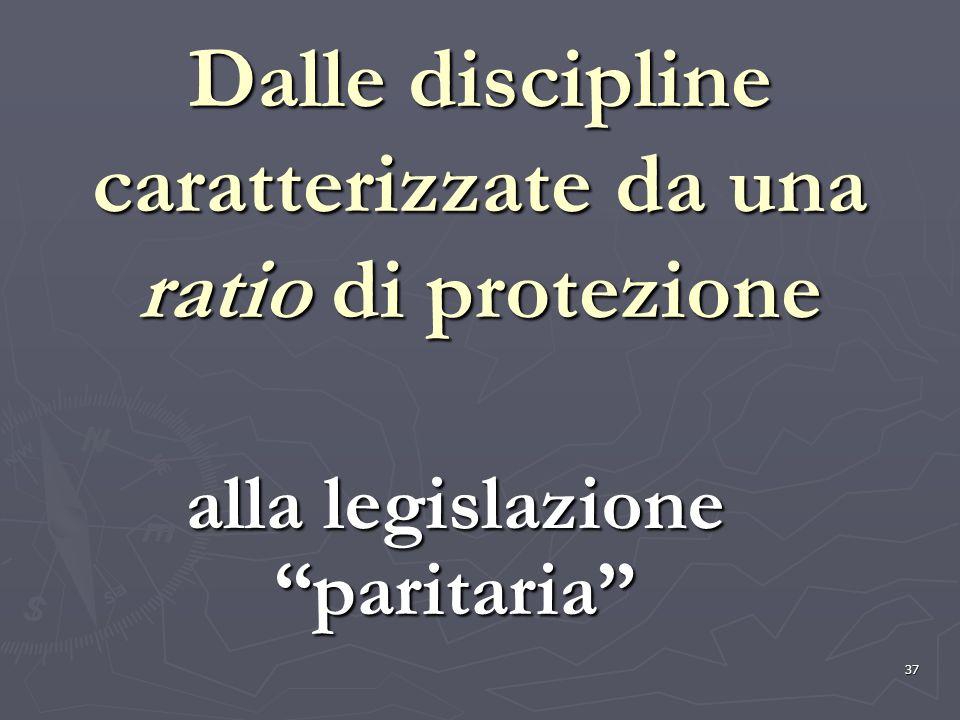 Dalle discipline caratterizzate da una ratio di protezione