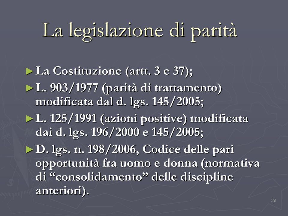 La legislazione di parità