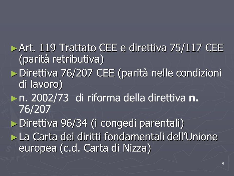 Art. 119 Trattato CEE e direttiva 75/117 CEE (parità retributiva)