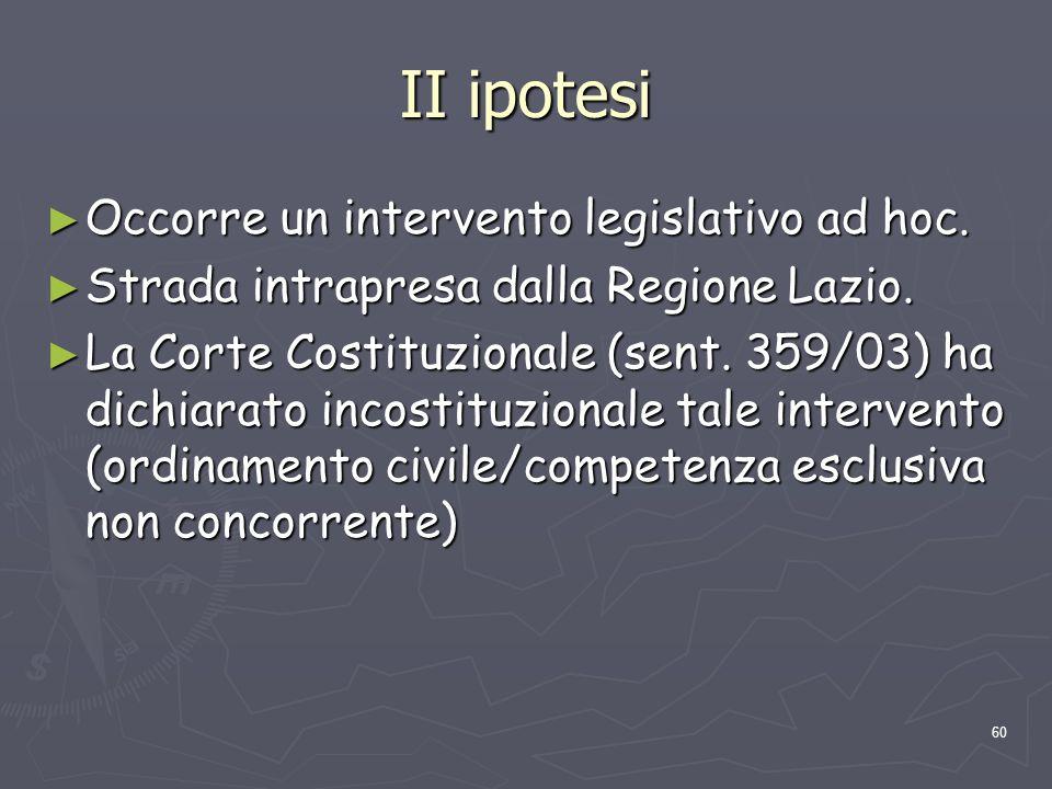 II ipotesi Occorre un intervento legislativo ad hoc.