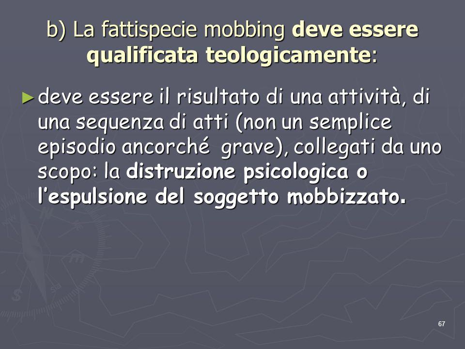 b) La fattispecie mobbing deve essere qualificata teologicamente:
