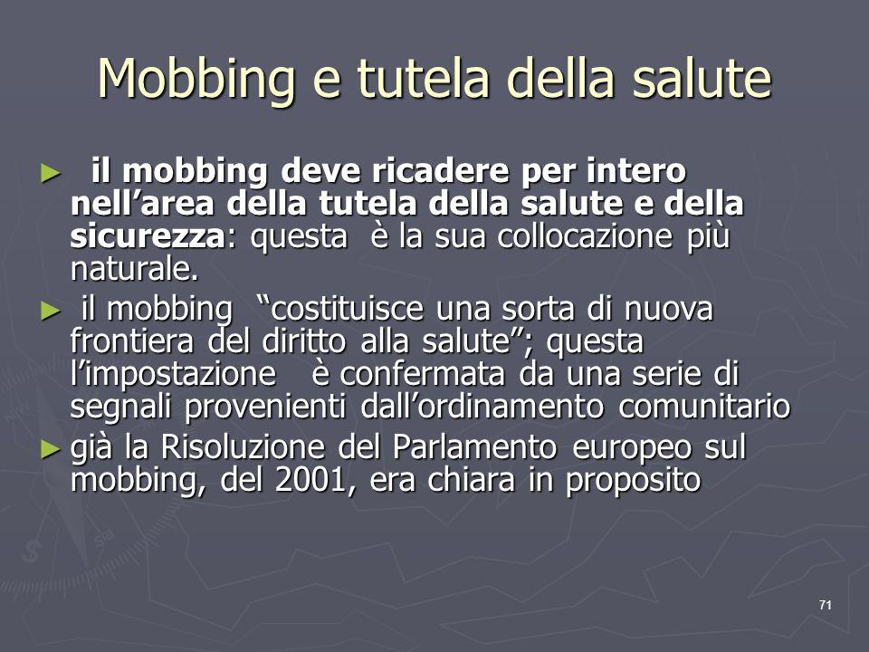 Mobbing e tutela della salute
