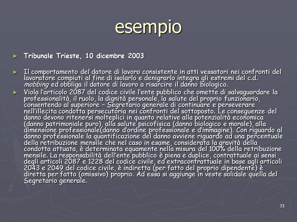 esempio Tribunale Trieste, 10 dicembre 2003