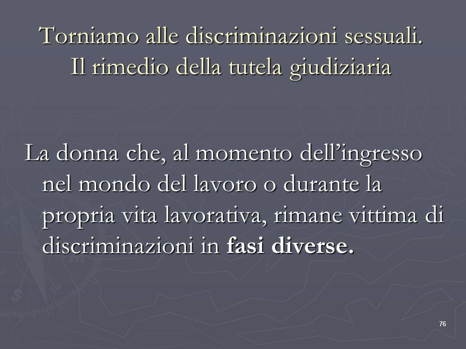 Torniamo alle discriminazioni sessuali