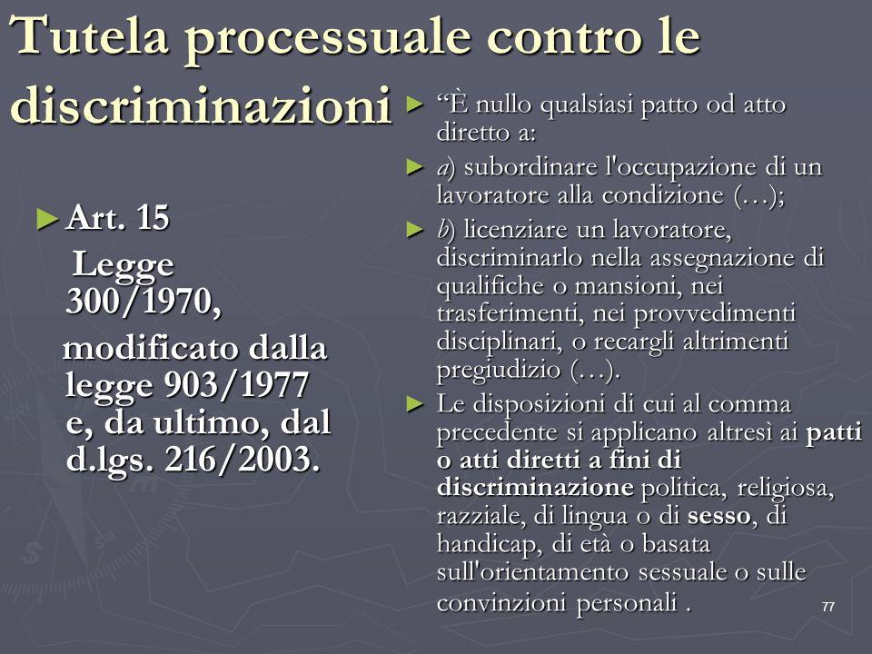 Tutela processuale contro le discriminazioni