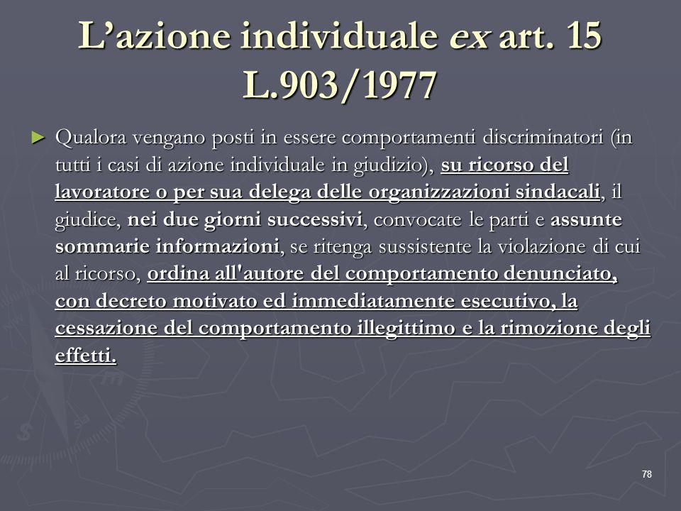 L'azione individuale ex art. 15 L.903/1977