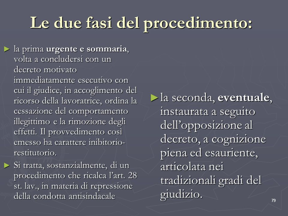 Le due fasi del procedimento: