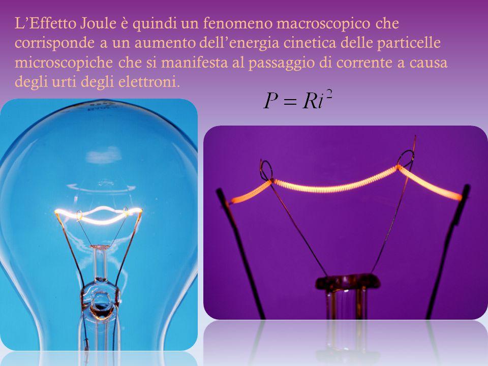 L'Effetto Joule è quindi un fenomeno macroscopico che corrisponde a un aumento dell'energia cinetica delle particelle microscopiche che si manifesta al passaggio di corrente a causa degli urti degli elettroni.