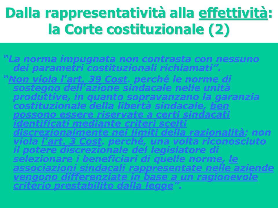 Dalla rappresentatività alla effettività: la Corte costituzionale (2)