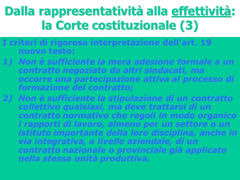 Dalla rappresentatività alla effettività: la Corte costituzionale (3)