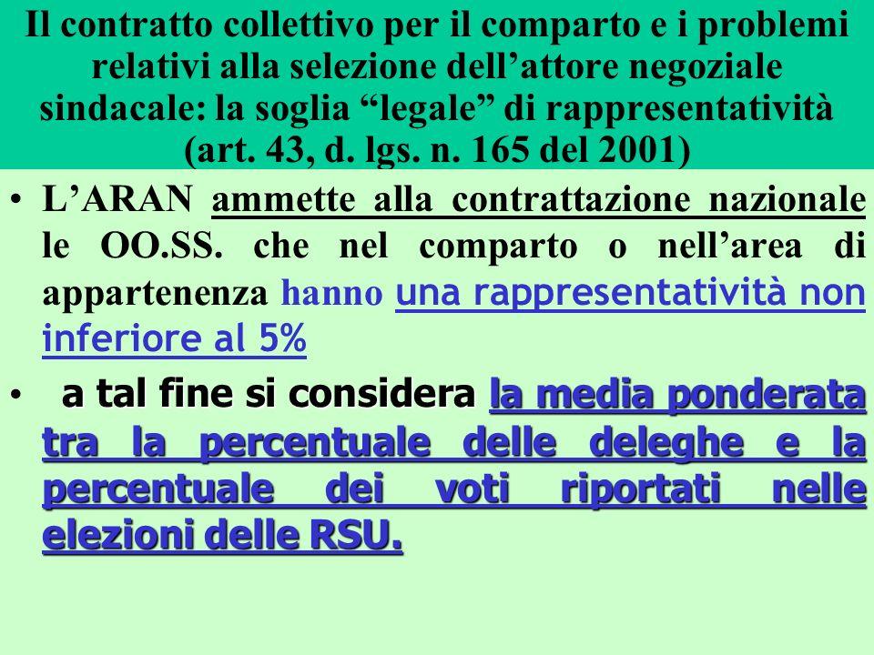 Il contratto collettivo per il comparto e i problemi relativi alla selezione dell'attore negoziale sindacale: la soglia legale di rappresentatività (art. 43, d. lgs. n. 165 del 2001)