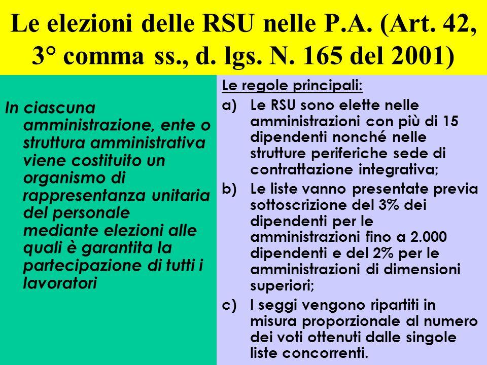 Le elezioni delle RSU nelle P. A. (Art. 42, 3° comma ss. , d. lgs. N