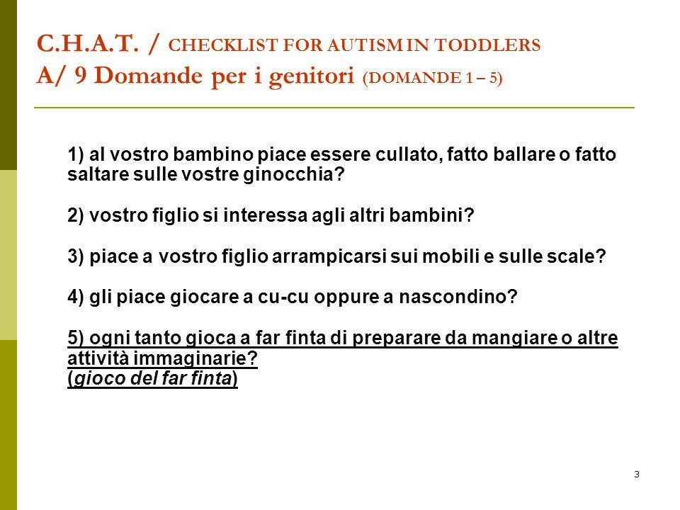 C.H.A.T. / CHECKLIST FOR AUTISM IN TODDLERS A/ 9 Domande per i genitori (DOMANDE 1 – 5)