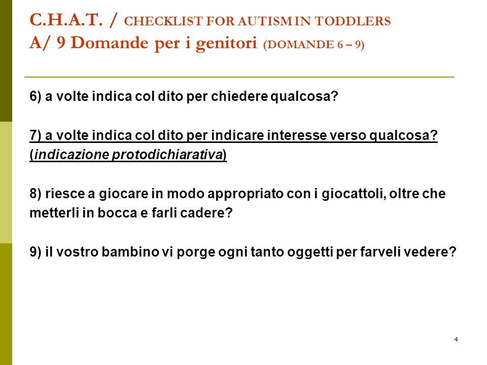 C.H.A.T. / CHECKLIST FOR AUTISM IN TODDLERS A/ 9 Domande per i genitori (DOMANDE 6 – 9)