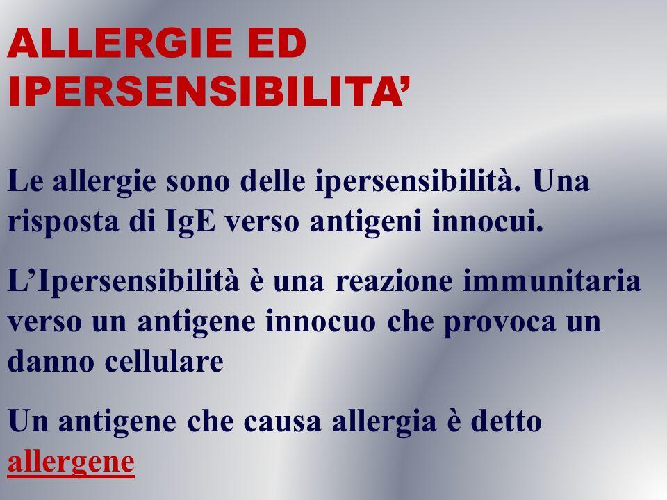 ALLERGIE ED IPERSENSIBILITA'