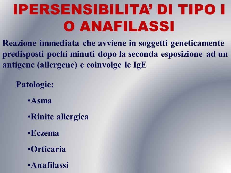 IPERSENSIBILITA' DI TIPO I O ANAFILASSI