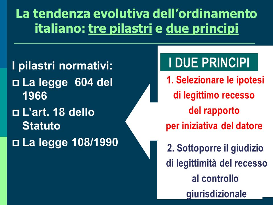 La tendenza evolutiva dell'ordinamento italiano: tre pilastri e due principi