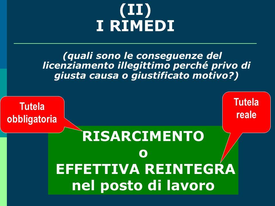(II) I RIMEDI RISARCIMENTO o EFFETTIVA REINTEGRA nel posto di lavoro