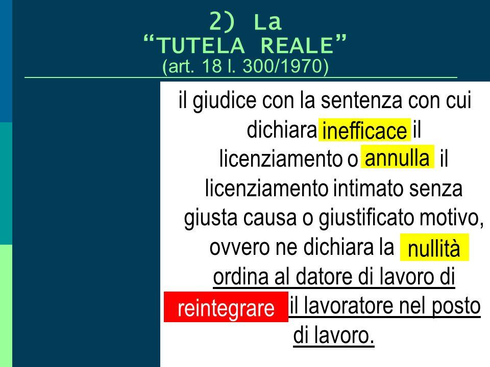 2) La TUTELA REALE (art. 18 l. 300/1970)