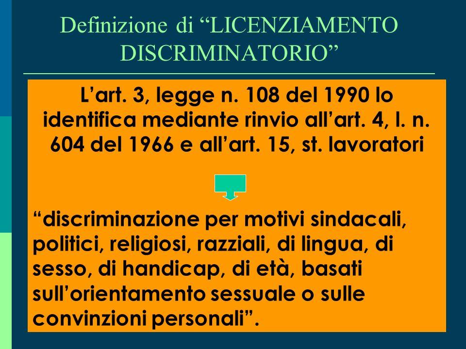 Definizione di LICENZIAMENTO DISCRIMINATORIO