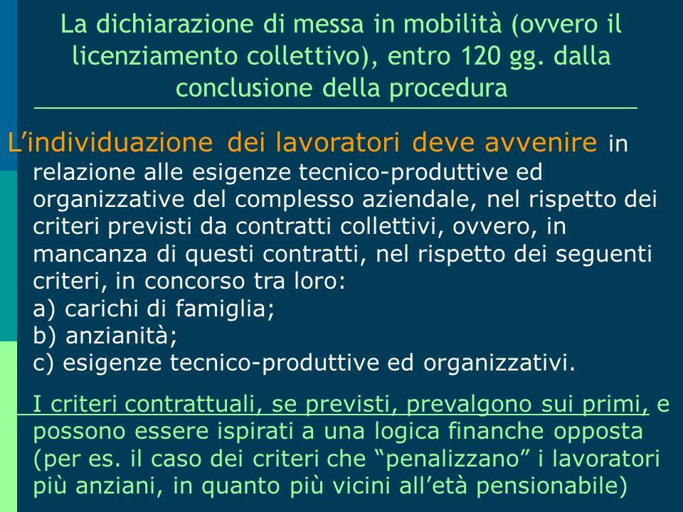 La dichiarazione di messa in mobilità (ovvero il licenziamento collettivo), entro 120 gg. dalla conclusione della procedura