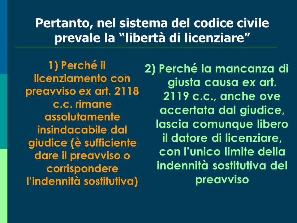 Pertanto, nel sistema del codice civile prevale la libertà di licenziare